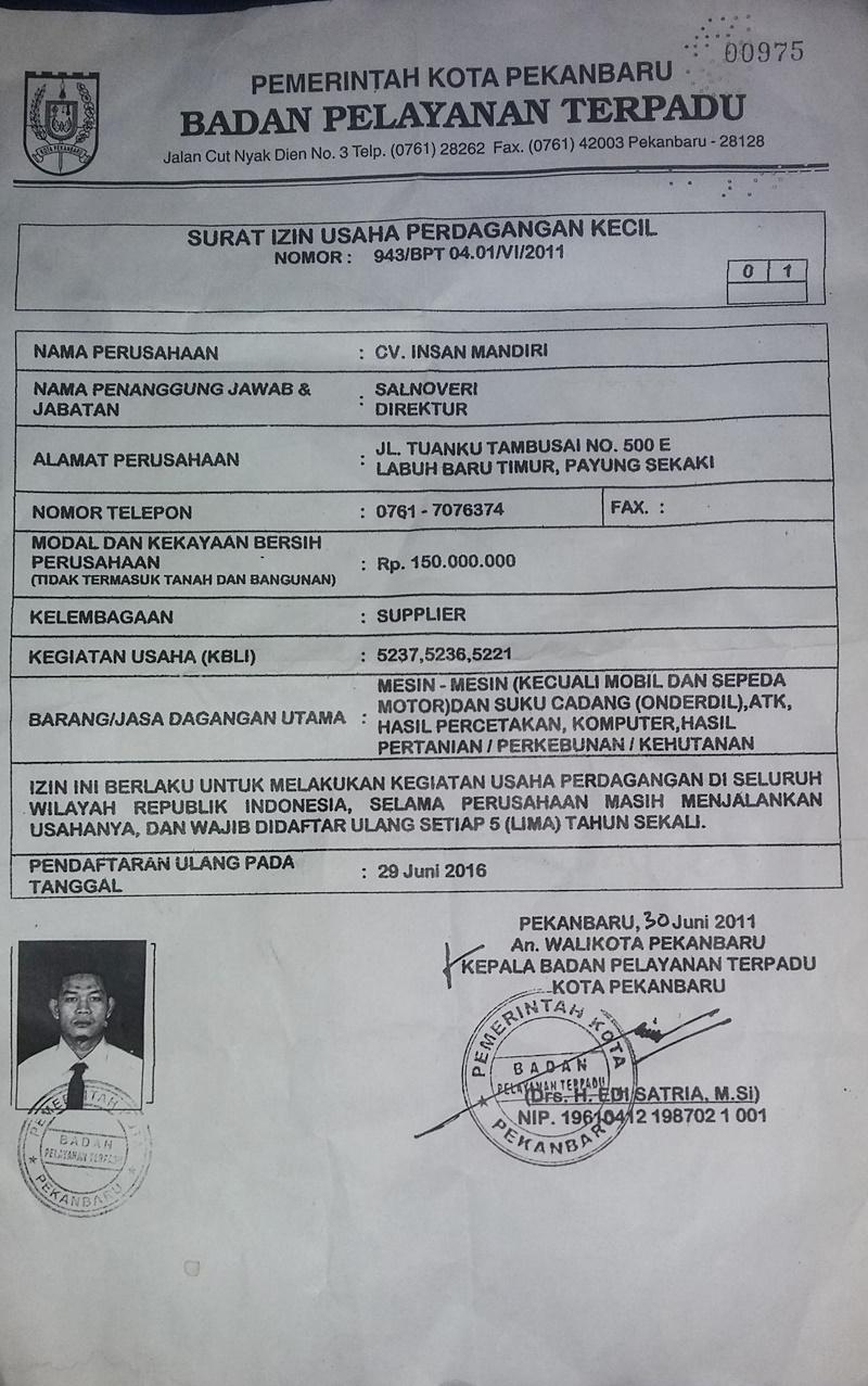 Surat Izin Usaha Perdagangan Kecil Jual Mesin Fotocopy Import Murah Padang